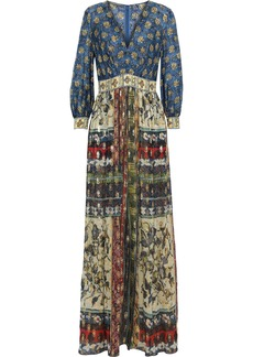 Alberta Ferretti Woman Printed Fil Coupé Silk-blend Chiffon Maxi Dress Blue