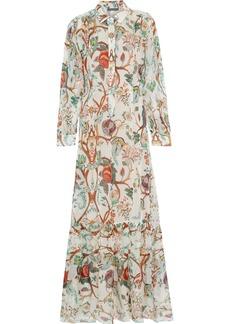 Alberta Ferretti Woman Printed Silk-chiffon Maxi Shirt Dress Off-white