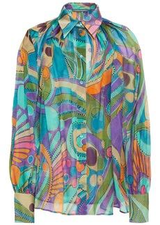 Alberta Ferretti Woman Printed Silk-chiffon Shirt Petrol