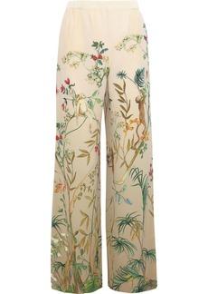 Alberta Ferretti Woman Printed Silk Crepe De Chine Wide-leg Pants Cream