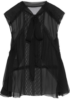 Alberta Ferretti Woman Pussy-bow Lace-trimmed Silk-chiffon Top Black