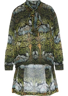 Alberta Ferretti Woman Pussy-bow Printed Silk-chiffon Blouse Leaf Green