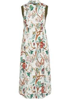 Alberta Ferretti Woman Ribbed Knit-paneled Pintucked Printed Silk Shirt Dress Off-white