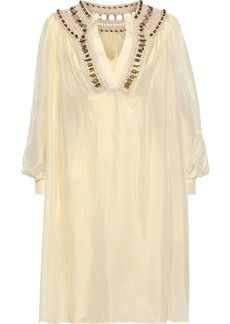 Alberta Ferretti Woman Ring-embellished Crochet-trimmed Silk-satin Dress Ivory