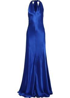 Alberta Ferretti Woman Ruched Silk-satin Halterneck Gown Cobalt Blue