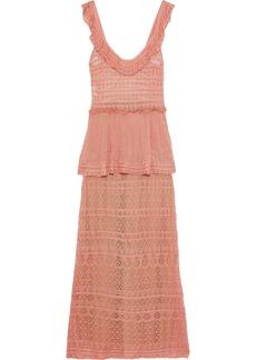 Alberta Ferretti Woman Ruffle-trimmed Crochet-knit Peplum Maxi Dress Antique Rose