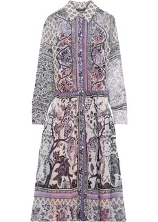 Alberta Ferretti Woman Ruffle-trimmed Printed Silk-chiffon Midi Shirt Dress Purple