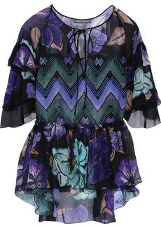 Alberta Ferretti Woman Ruffled Printed Silk-chiffon Blouse Violet
