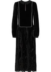 Alberta Ferretti Woman Satin-trimmed Broderie Anglaise Velvet Midi Dress Black