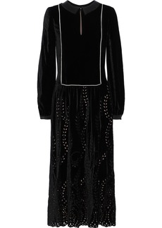 Alberta Ferretti Woman Satin-trimmed Broderie Anglaise Velvet Midi Dress Black