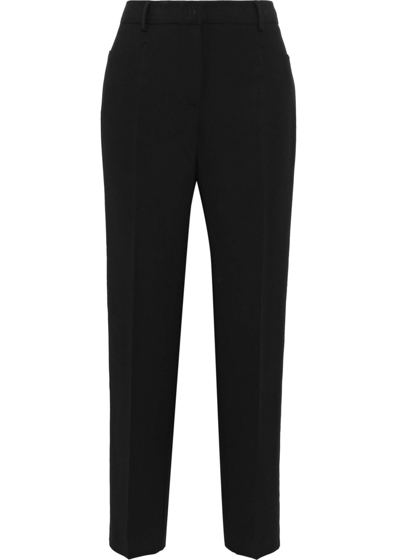 Alberta Ferretti Woman Satin-trimmed Crepe Straight-leg Pants Black