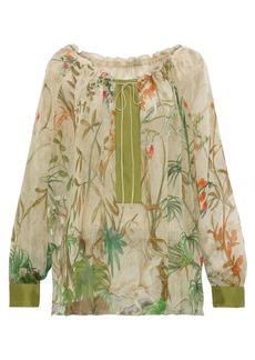 Alberta Ferretti Woman Satin-trimmed Printed Silk-chiffon Blouse Sage Green