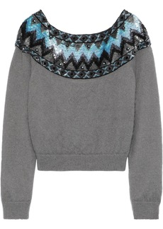 Alberta Ferretti Woman Sequin-embellished Brushed-knitted Sweater Gray