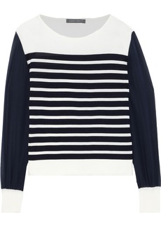 Alberta Ferretti Woman Silk Chiffon-paneled Striped Cotton Top Navy