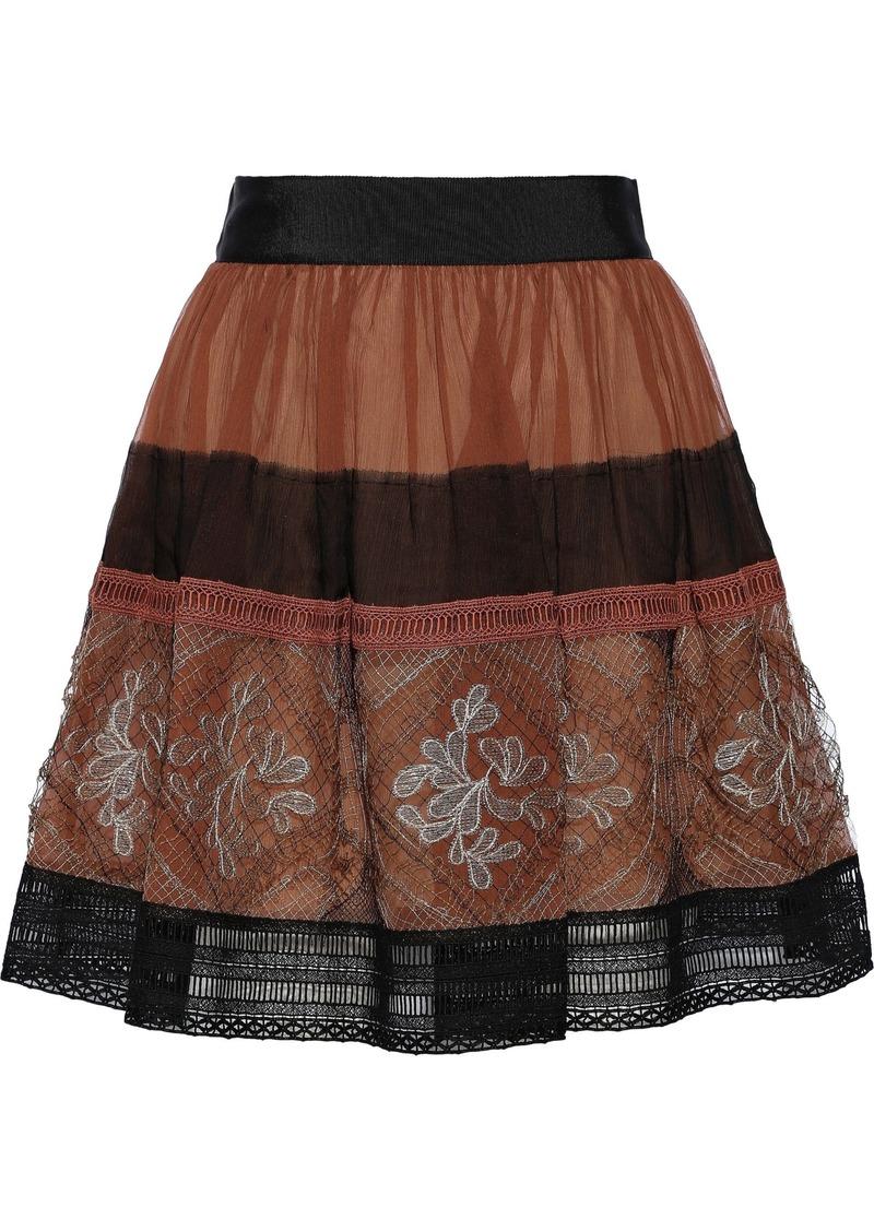 Alberta Ferretti Woman Silk-georgette And Guipure Lace Mini Skirt Brown