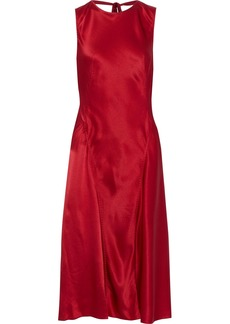 Alberta Ferretti Woman Silk-satin Crepe Dress Brick