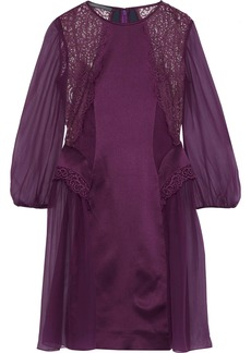 Alberta Ferretti Woman Lace-paneled Embroidered Silk-chiffon Dress Purple