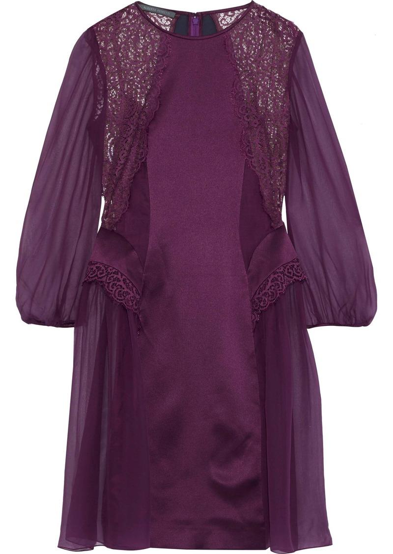 Alberta Ferretti Woman Lace-paneled Embroidered Silk-chiffon Dress Purple