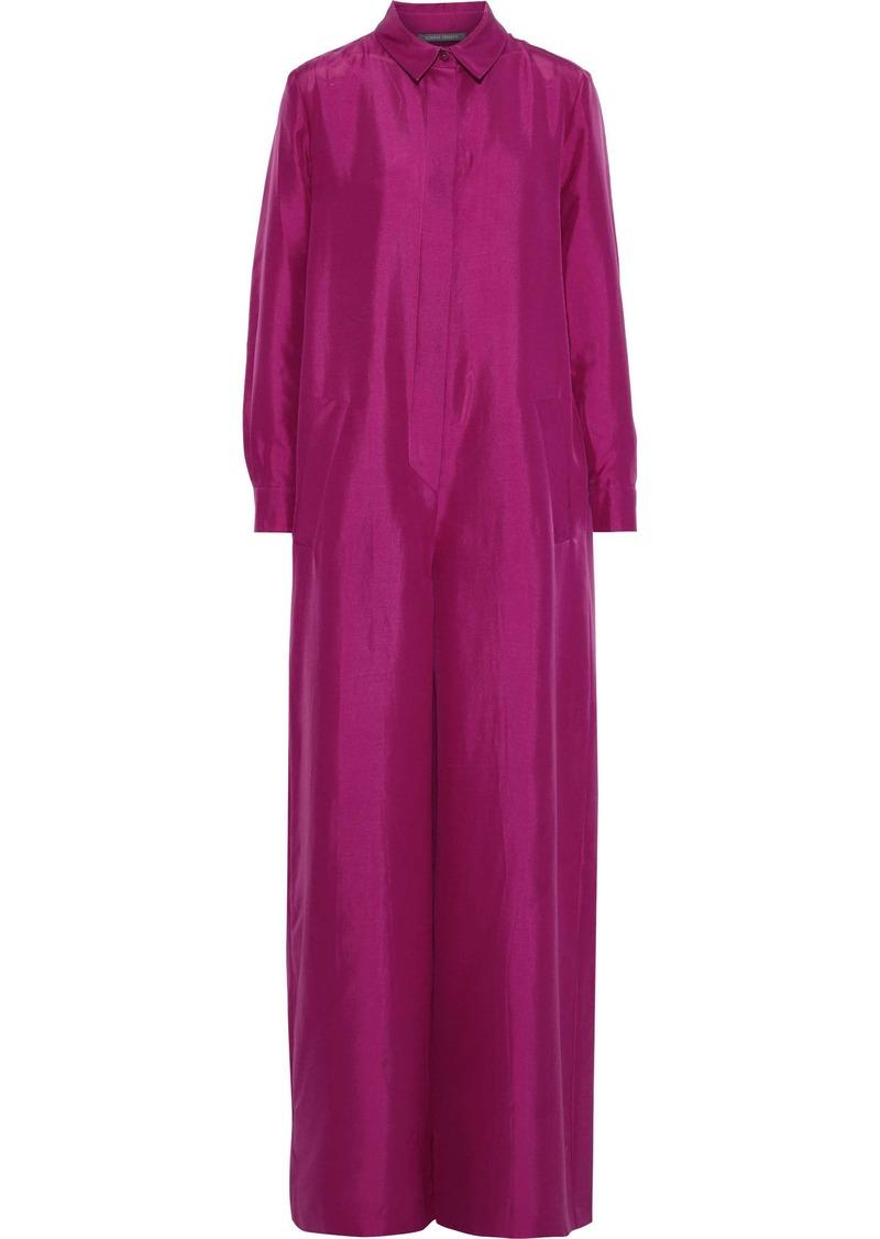 Alberta Ferretti Woman Silk-shantung Wide-leg Jumpsuit Magenta