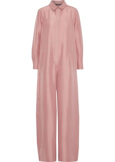 Alberta Ferretti Woman Silk-shantung Wide-leg Jumpsuit Antique Rose
