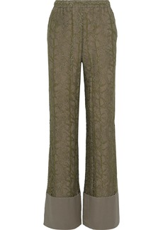 Alberta Ferretti Woman Silk-trimmed Metallic Lace Wide-leg Pants Sage Green