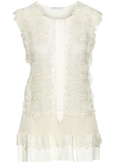 Alberta Ferretti Woman Chiffon-paneled Appliquéd Lace And Crepe Top Ivory
