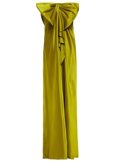 Alberta Ferretti Woman Strapless Bow-embellished Silk-satin Crepe Gown Lime Green