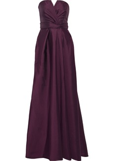 Alberta Ferretti Woman Strapless Pleated Satin Gown Dark Purple