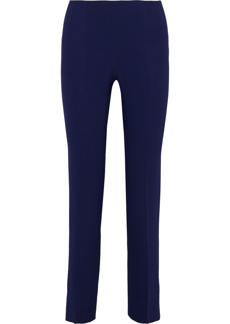Alberta Ferretti Woman Stretch-crepe Slim-leg Pants Indigo