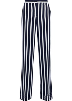 Alberta Ferretti Woman Striped Crepe Wide-leg Pants Navy