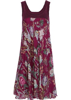 Alberta Ferretti Woman Striped Ribbed Knit-paneled Floral-print Silk-chiffon Dress Violet