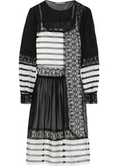 Alberta Ferretti Woman Striped Silk-chiffon Crepe De Chine And Lace Dress Black