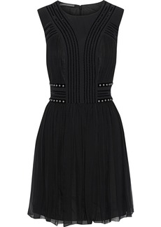 Alberta Ferretti Woman Studded Velvet-trimmed Pleated Silk-chiffon Mini Dress Black