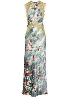 Alberta Ferretti Woman Tie-back Lace-appliquéd Floral-print Silk-satin Gown Grey Green