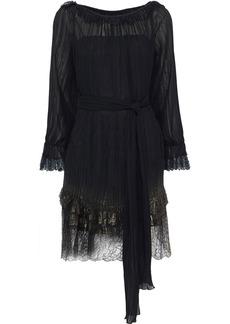 Alberta Ferretti Woman Tie-front Plissé-chiffon And Metallic Lace Mini Dress Black
