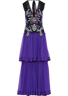 Alberta Ferretti Woman Tiered Embellished Lace-paneled Silk-chiffon Gown Violet