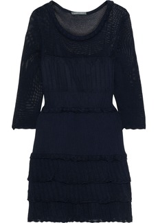Alberta Ferretti Woman Tiered Pointelle-knit Cotton Mini Dress Navy