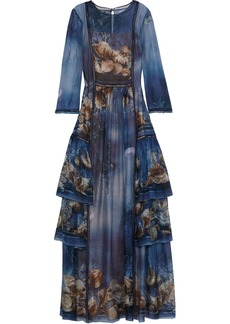Alberta Ferretti Woman Tiered Printed Silk-chiffon Gown Blue