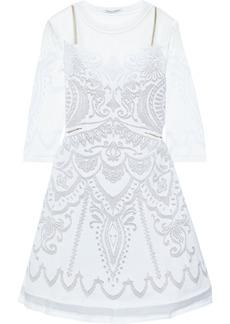 Alberta Ferretti Woman Tulle-paneled Burnout Stretch-knit Mini Dress White