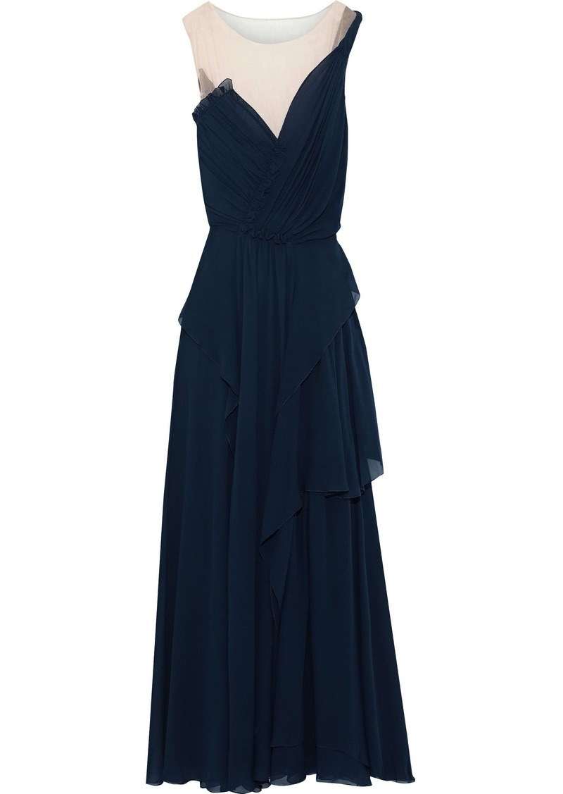 Alberta Ferretti Woman Tulle-paneled Draped Silk-georgette Gown Storm Blue