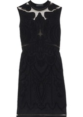 Alberta Ferretti Woman Tulle-paneled Jacquard-knit Mini Dress Black