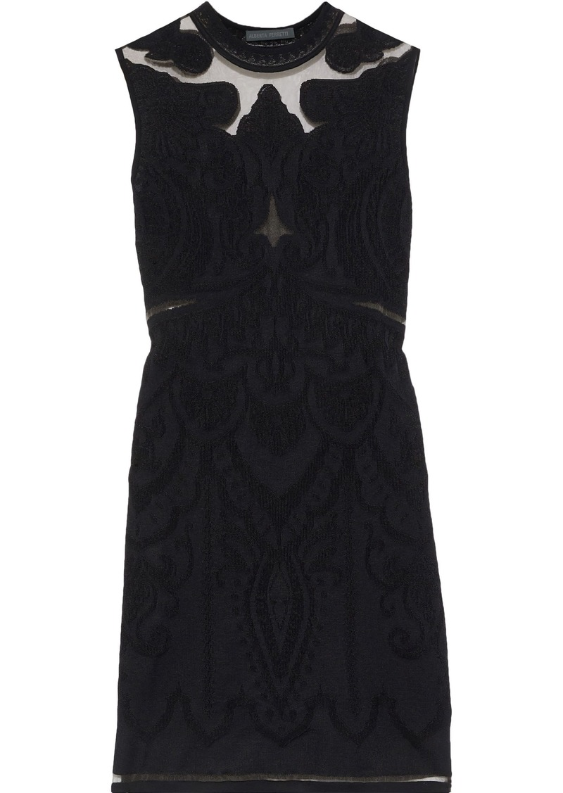 Alberta Ferretti Woman Tulle-paneled Jacquard-knit Mini Dress Black