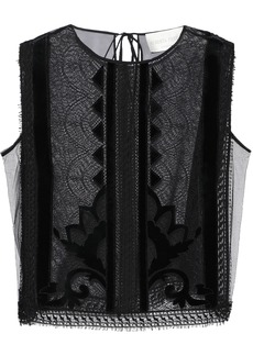 Alberta Ferretti Woman Velvet-appliquéd Lace And Chiffon Top Black