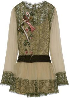 Alberta Ferretti Woman Velvet-trimmed Georgette And Appliquéd Lace Blouse Sage Green