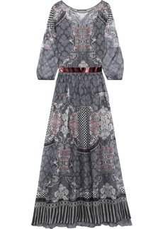 Alberta Ferretti Woman Velvet-trimmed Printed Silk-chiffon Maxi Dress Gray