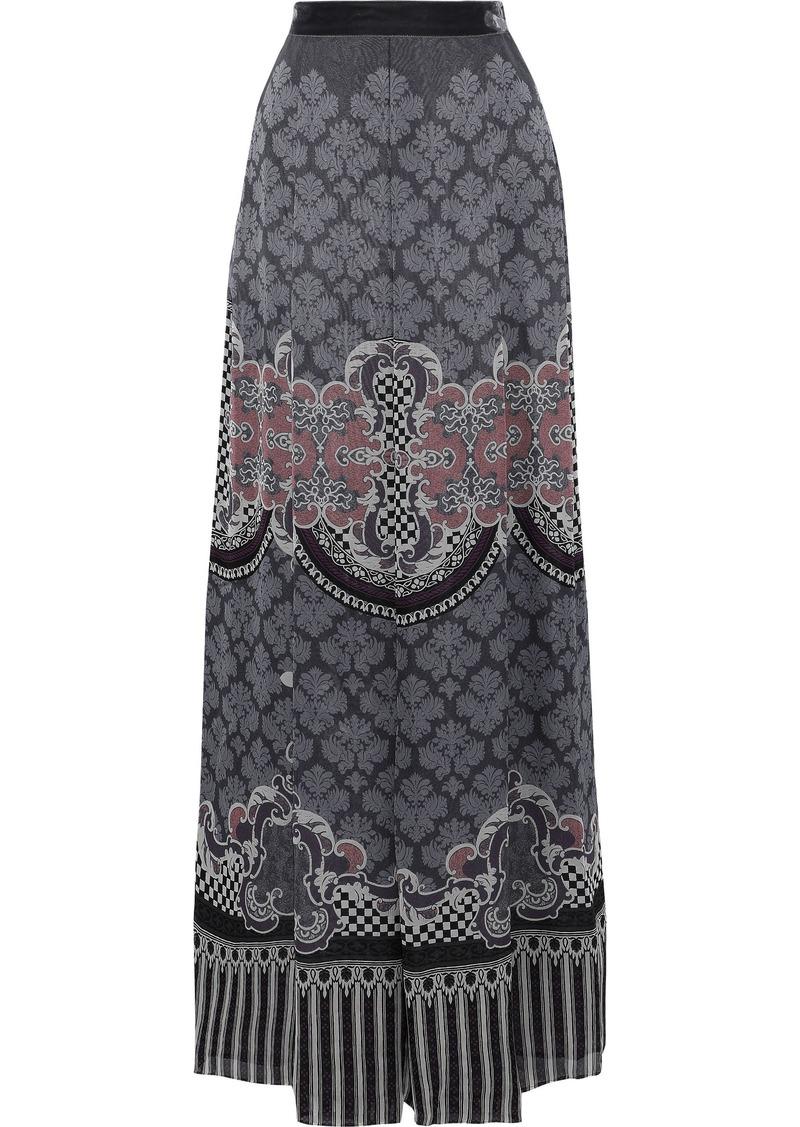 Alberta Ferretti Woman Velvet-trimmed Printed Silk Maxi Skirt Gray