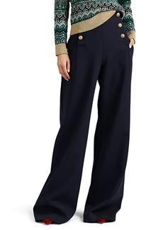 Alberta Ferretti Women's Buttoned High-Rise Wide-Leg Trousers