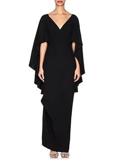 Alberta Ferretti Women's Cape-Sleeve Cady Gown