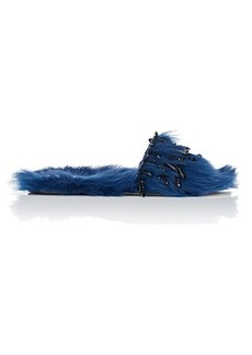 Alberta Ferretti Women's Crystal-Embellished Shearling Slide Sandals