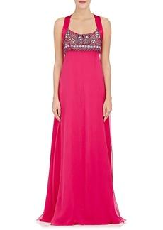 Alberta Ferretti Women's Embellished-Bodice Crepe Gown